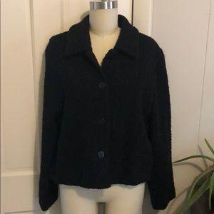 Eileen Fisher black nubby blazer jacket